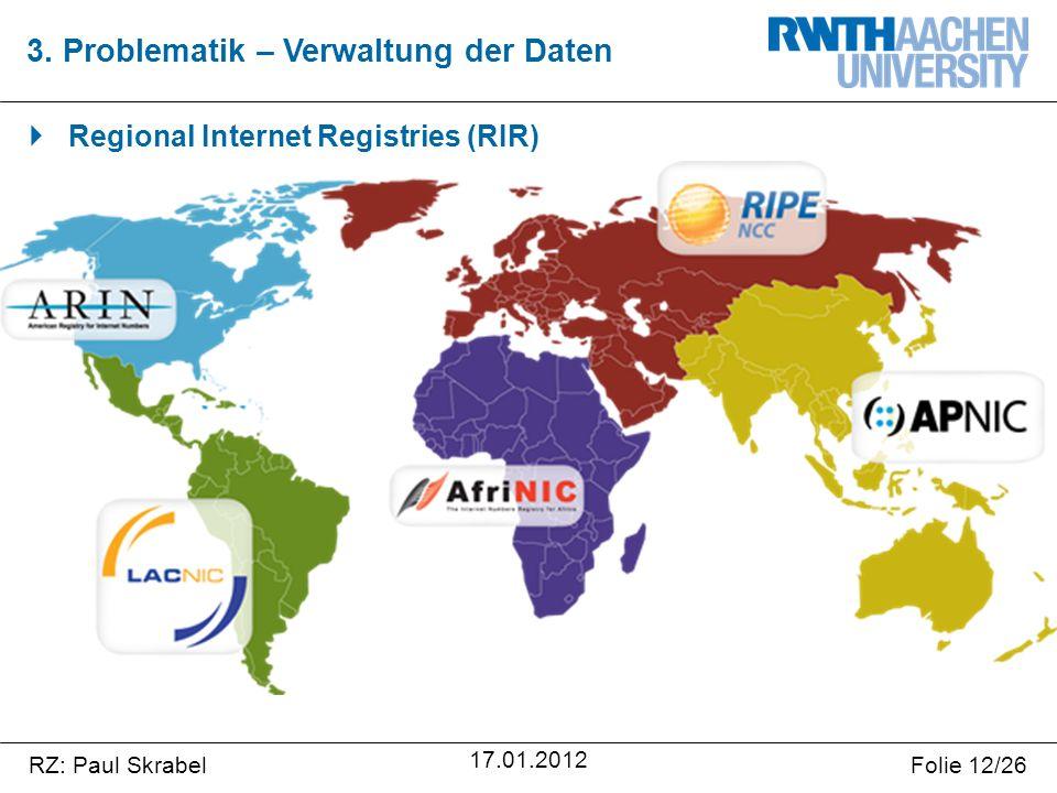 RZ: Paul SkrabelFolie 12/26 17.01.2012  Regional Internet Registries (RIR) 3.