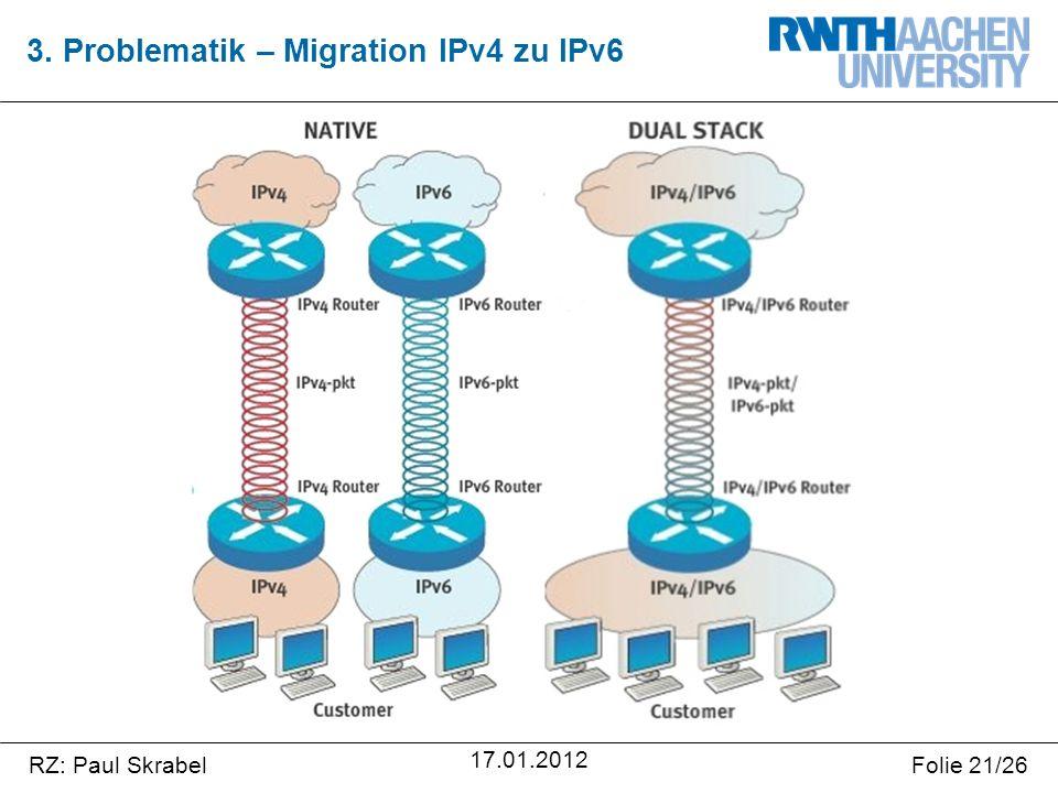 RZ: Paul SkrabelFolie 21/26 17.01.2012 3. Problematik – Migration IPv4 zu IPv6