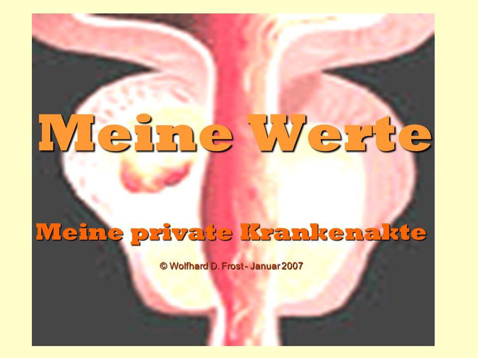 Meine Werte Meine private Krankenakte © Wolfhard D. Frost - Januar 2007