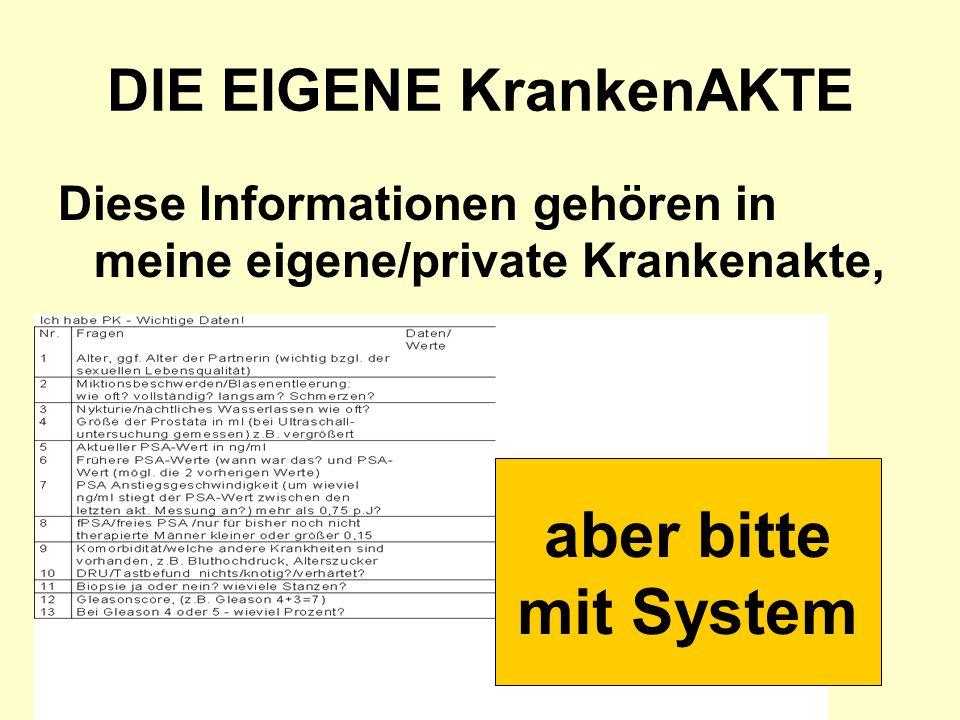 DIE EIGENE KrankenAKTE Diese Informationen gehören in meine eigene/private Krankenakte, aber bitte mit System