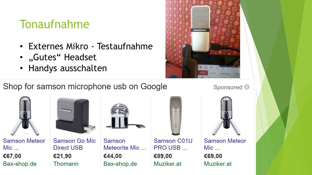 "Tonaufnahme Externes Mikro - Testaufnahme ""Gutes"" Headset Handys ausschalten"