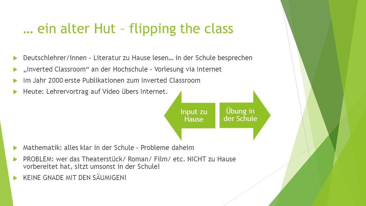 """… ein alter Hut – flipping the class  Deutschlehrer/innen – Literatur zu Hause lesen… in der Schule besprechen  """"Inverted Classroom"""" an der Hochschu"""
