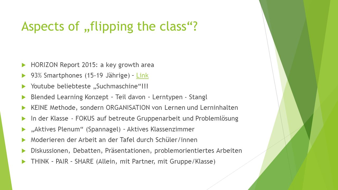 "Aspects of ""flipping the class ."