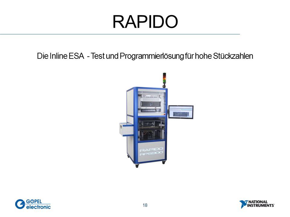 18 RAPIDO Die Inline ESA - Test und Programmierlösung für hohe Stückzahlen