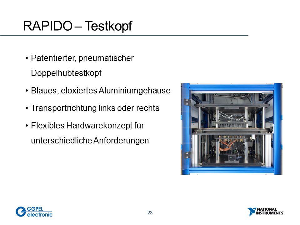 23 RAPIDO – Testkopf Patentierter, pneumatischer Doppelhubtestkopf Blaues, eloxiertes Aluminiumgehäuse Transportrichtung links oder rechts Flexibles Hardwarekonzept für unterschiedliche Anforderungen
