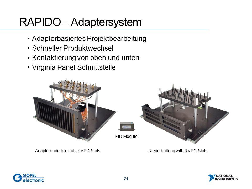 24 RAPIDO – Adaptersystem Adapterbasiertes Projektbearbeitung Schneller Produktwechsel Kontaktierung von oben und unten Virginia Panel Schnittstelle Adapternadelfeld mit 17 VPC-SlotsNiederhaltung with 6 VPC-Slots FID-Module