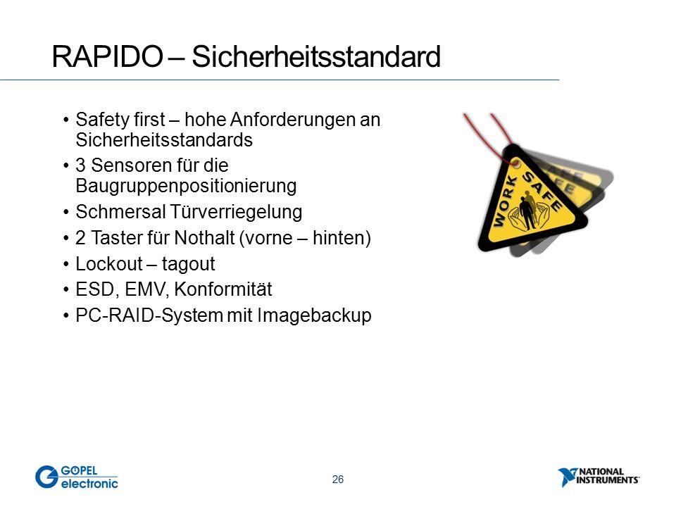 26 RAPIDO – Sicherheitsstandard Safety first – hohe Anforderungen an Sicherheitsstandards 3 Sensoren für die Baugruppenpositionierung Schmersal Türverriegelung 2 Taster für Nothalt (vorne – hinten) Lockout – tagout ESD, EMV, Konformität PC-RAID-System mit Imagebackup