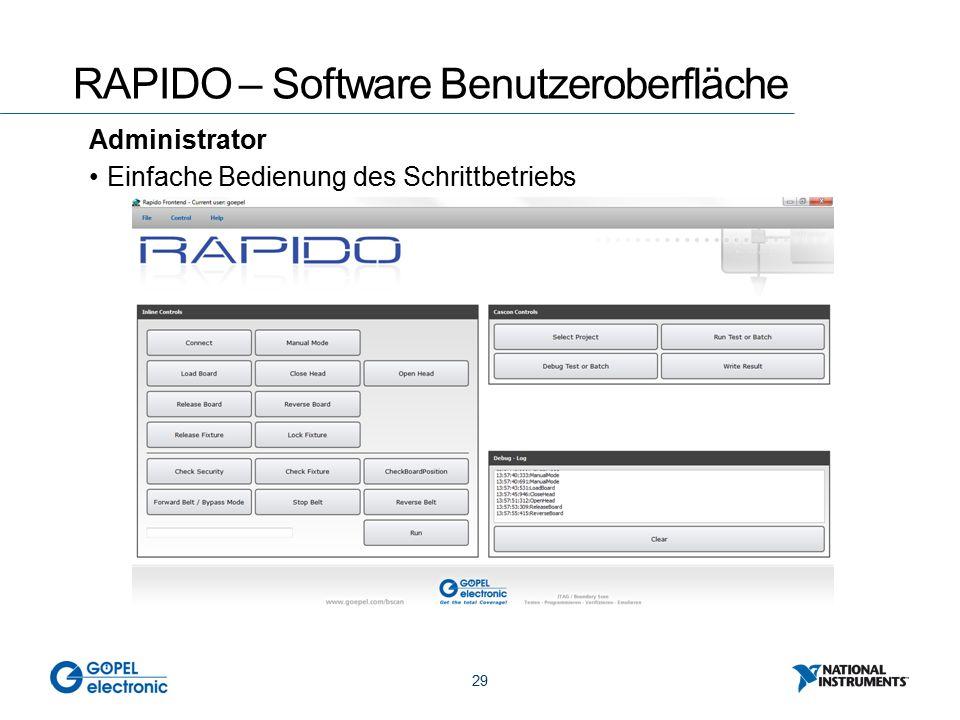 29 RAPIDO – Software Benutzeroberfläche Administrator Einfache Bedienung des Schrittbetriebs