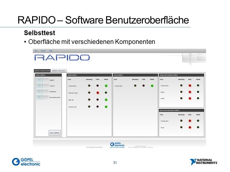 31 RAPIDO – Software Benutzeroberfläche Selbsttest Oberfläche mit verschiedenen Komponenten