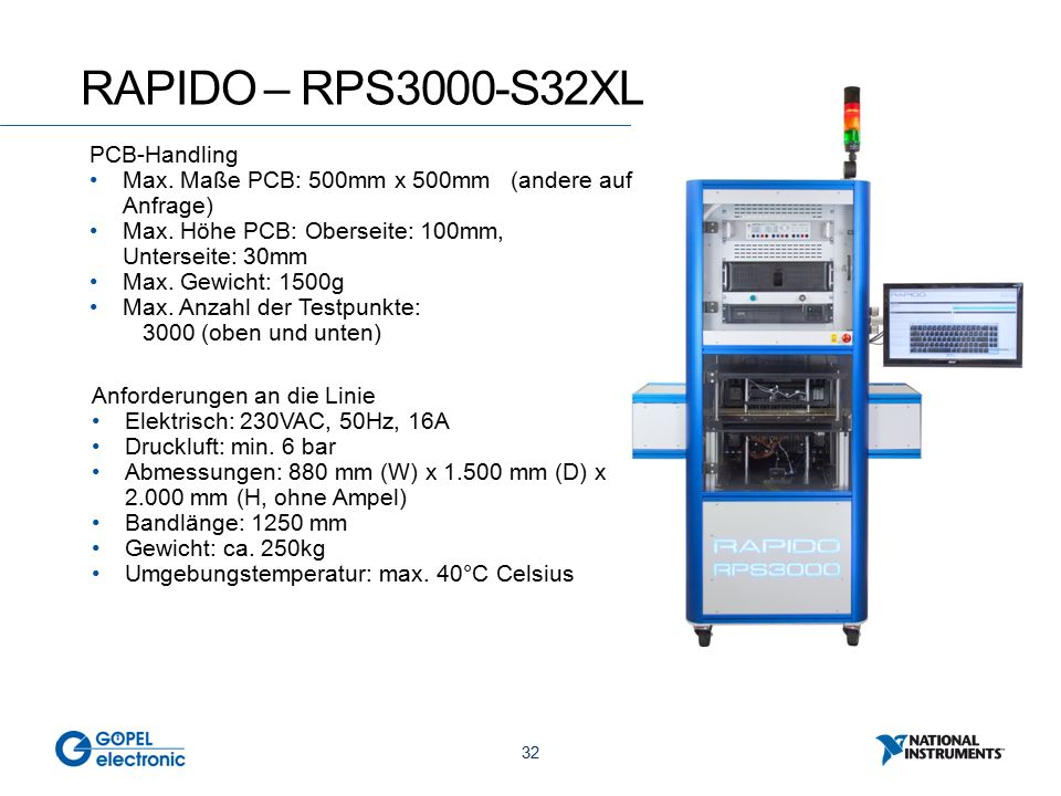 32 RAPIDO – RPS3000-S32XL PCB-Handling Max. Maße PCB: 500mm x 500mm (andere auf Anfrage) Max.