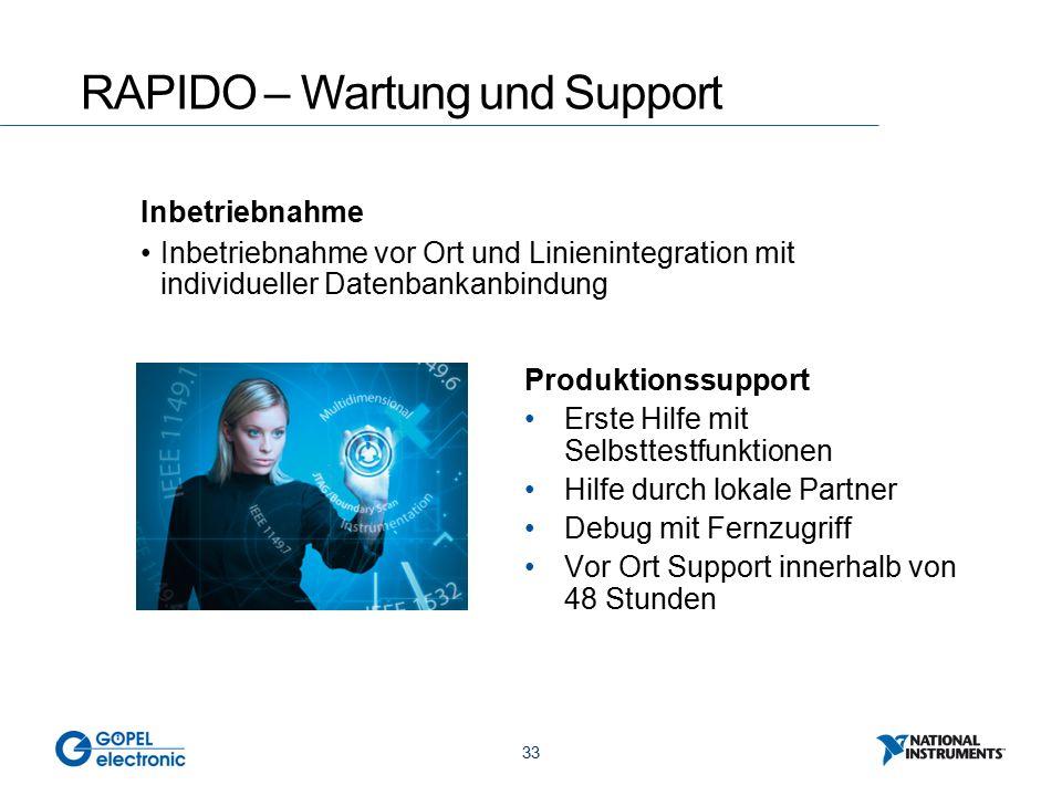 33 Inbetriebnahme Inbetriebnahme vor Ort und Linienintegration mit individueller Datenbankanbindung RAPIDO – Wartung und Support Produktionssupport Er