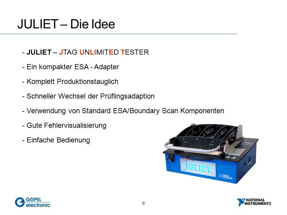 8 JULIET – Die Idee - JULIET – JTAG UNLIMITED TESTER - Ein kompakter ESA - Adapter - Komplett Produktionstauglich - Schneller Wechsel der Prüflingsadaption - Verwendung von Standard ESA/Boundary Scan Komponenten - Gute Fehlervisualisierung - Einfache Bedienung