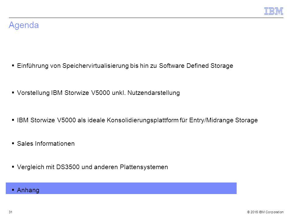 © 2015 IBM Corporation Agenda  Einführung von Speichervirtualisierung bis hin zu Software Defined Storage  Vorstellung IBM Storwize V5000 unkl.