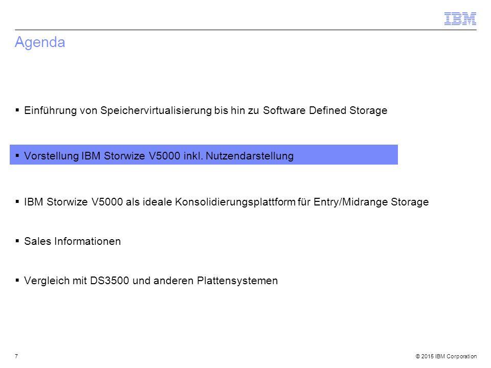 © 2015 IBM Corporation Agenda  Einführung von Speichervirtualisierung bis hin zu Software Defined Storage  Vorstellung IBM Storwize V5000 inkl.