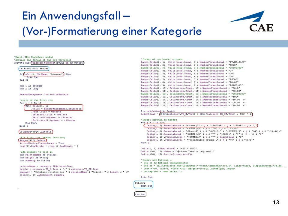 Ein Anwendungsfall – (Vor-)Formatierung einer Kategorie 13