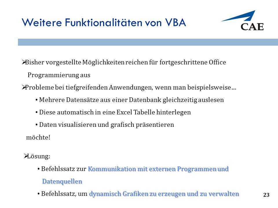 Weitere Funktionalitäten von VBA  Bisher vorgestellte Möglichkeiten reichen für fortgeschrittene Office Programmierung aus  Probleme bei tiefgreifen