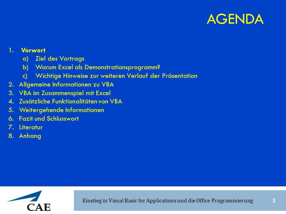 1. Vorwort a) Ziel des Vortrags b) Warum Excel als Demonstrationsprogramm? c) Wichtige Hinweise zur weiteren Verlauf der Präsentation 2.Allgemeine Inf