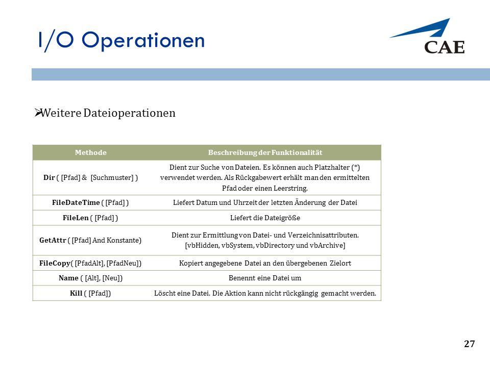 I/O Operationen 31 MethodeBeschreibung der Funktionalität Dir ( [Pfad] & [Suchmuster] ) Dient zur Suche von Dateien. Es können auch Platzhalter (*) ve