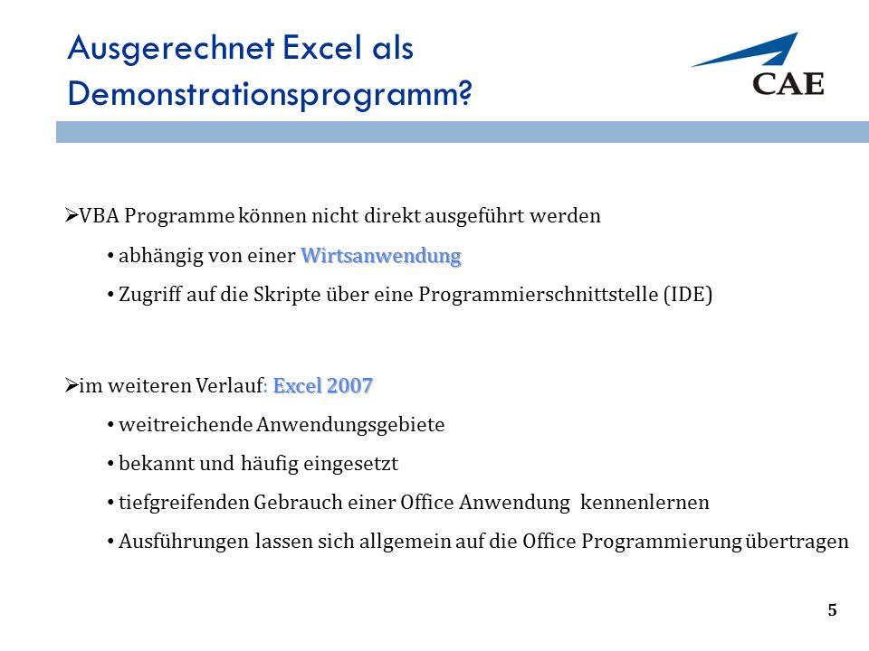 Ausgerechnet Excel als Demonstrationsprogramm?  VBA Programme können nicht direkt ausgeführt werden Wirtsanwendung abhängig von einer Wirtsanwendung