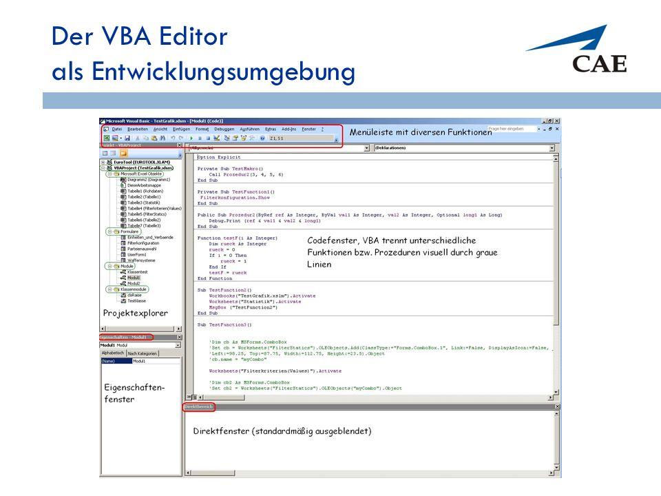 Der VBA Editor als Entwicklungsumgebung 57