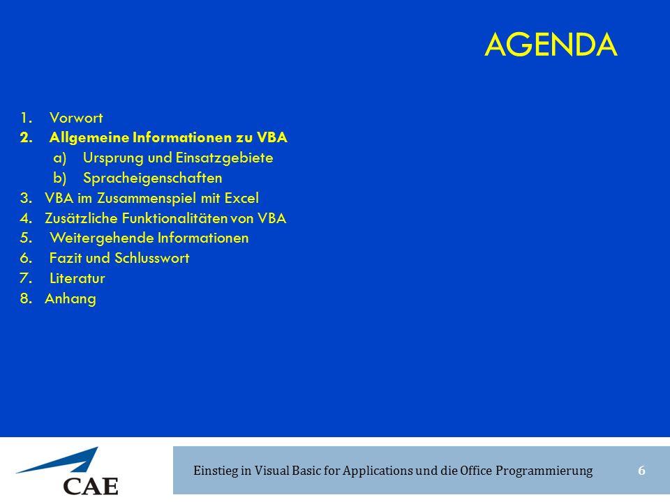 1. Vorwort 2. Allgemeine Informationen zu VBA a) Ursprung und Einsatzgebiete b) Spracheigenschaften 3.VBA im Zusammenspiel mit Excel 4.Zusätzliche Fun