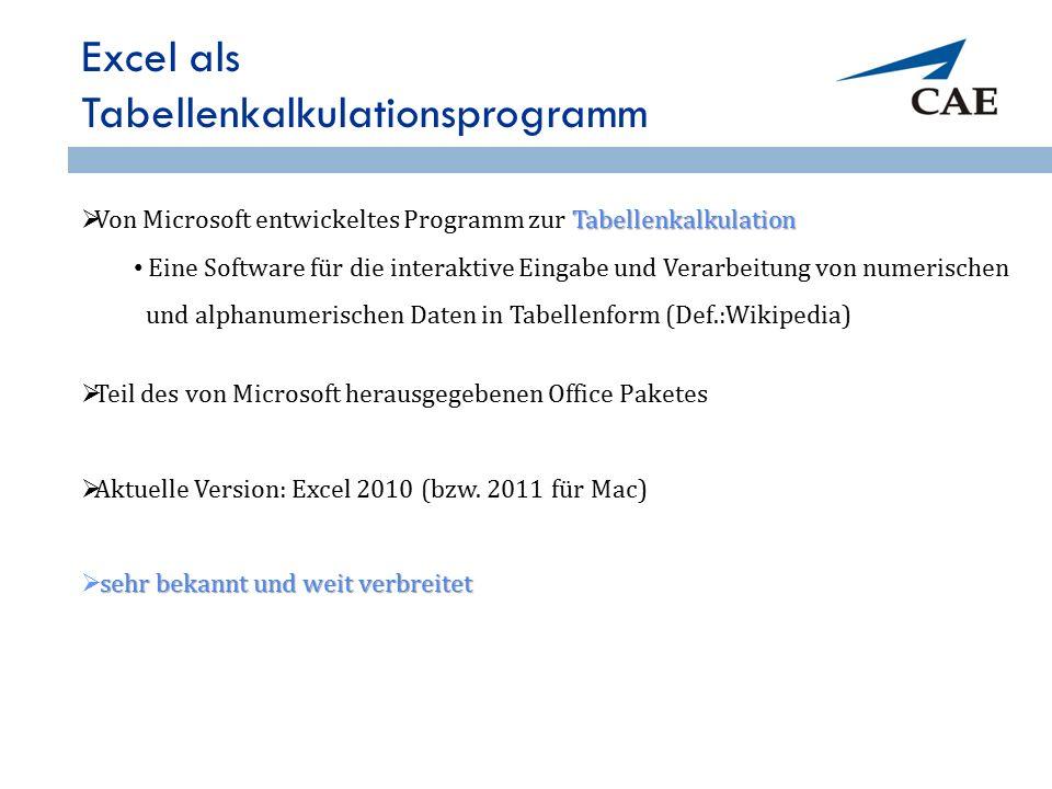 Excel als Tabellenkalkulationsprogramm Tabellenkalkulation  Von Microsoft entwickeltes Programm zur Tabellenkalkulation Eine Software für die interak