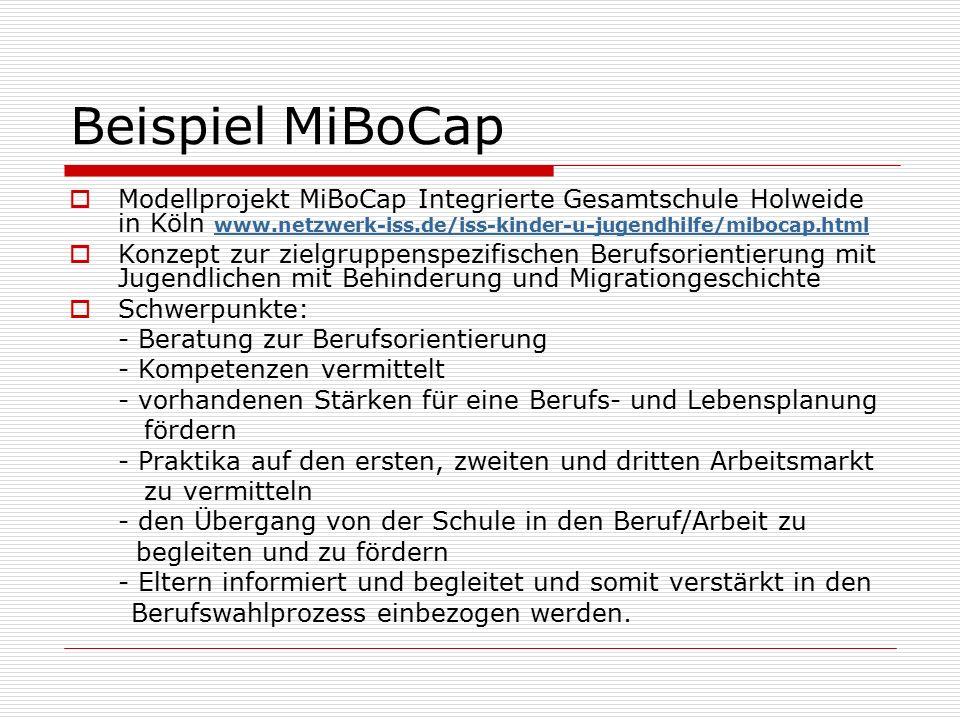 Beispiel MiBoCap  Modellprojekt MiBoCap Integrierte Gesamtschule Holweide in Köln www.netzwerk-iss.de/iss-kinder-u-jugendhilfe/mibocap.html www.netzwerk-iss.de/iss-kinder-u-jugendhilfe/mibocap.html  Konzept zur zielgruppenspezifischen Berufsorientierung mit Jugendlichen mit Behinderung und Migrationgeschichte  Schwerpunkte: - Beratung zur Berufsorientierung - Kompetenzen vermittelt - vorhandenen Stärken für eine Berufs- und Lebensplanung fördern - Praktika auf den ersten, zweiten und dritten Arbeitsmarkt zu vermitteln - den Übergang von der Schule in den Beruf/Arbeit zu begleiten und zu fördern - Eltern informiert und begleitet und somit verstärkt in den Berufswahlprozess einbezogen werden.