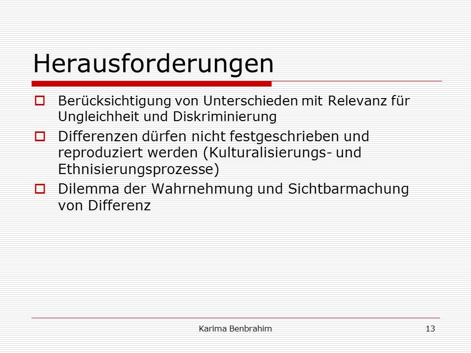 Herausforderungen  Berücksichtigung von Unterschieden mit Relevanz für Ungleichheit und Diskriminierung  Differenzen dürfen nicht festgeschrieben und reproduziert werden (Kulturalisierungs- und Ethnisierungsprozesse)  Dilemma der Wahrnehmung und Sichtbarmachung von Differenz 13Karima Benbrahim