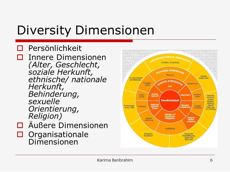 Diversity Dimensionen  Persönlichkeit  Innere Dimensionen (Alter, Geschlecht, soziale Herkunft, ethnische/ nationale Herkunft, Behinderung, sexuelle Orientierung, Religion)  Äußere Dimensionen  Organisationale Dimensionen 6Karima Benbrahim