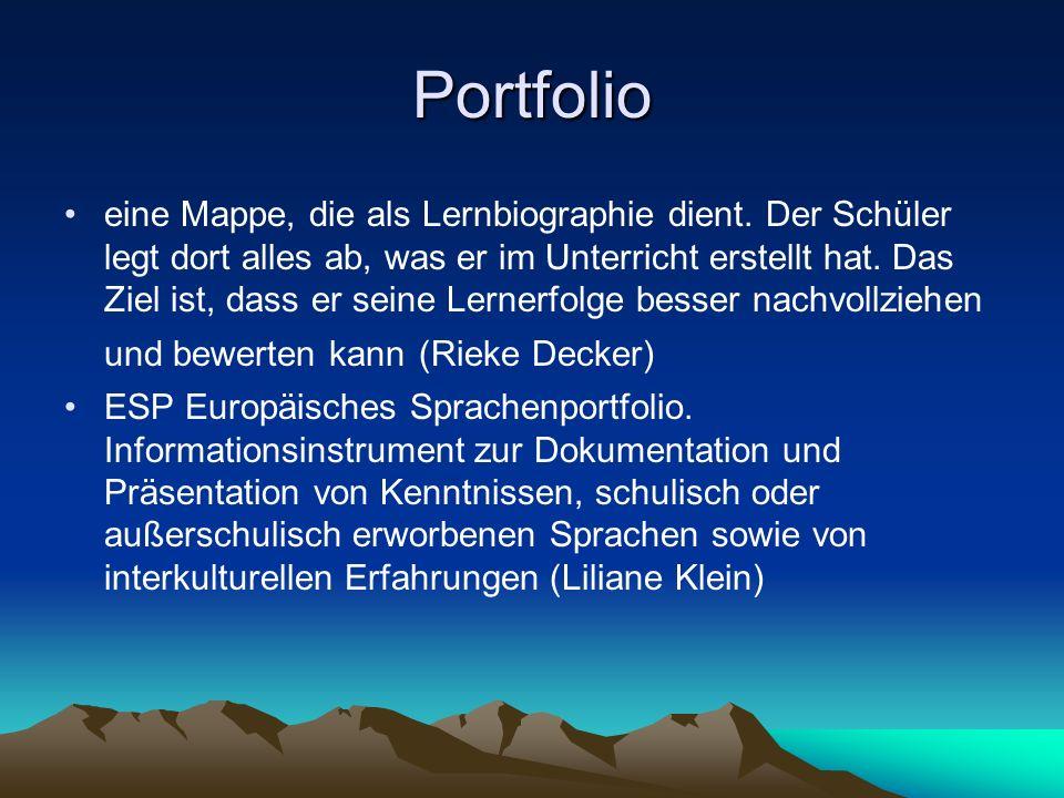 Portfolio eine Mappe, die als Lernbiographie dient.