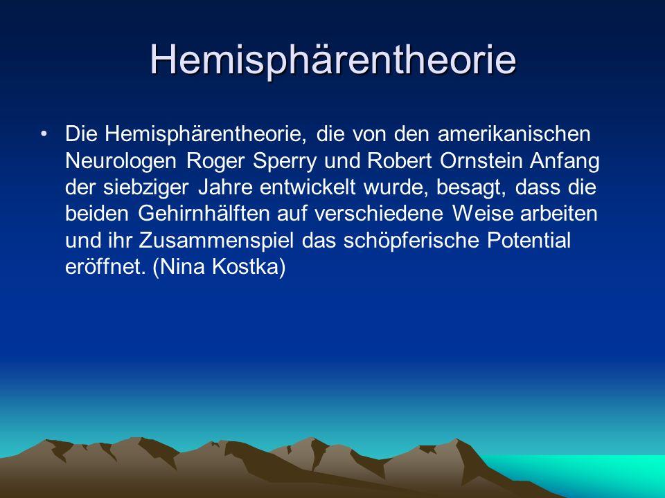 Hemisphärentheorie Die Hemisphärentheorie, die von den amerikanischen Neurologen Roger Sperry und Robert Ornstein Anfang der siebziger Jahre entwickelt wurde, besagt, dass die beiden Gehirnhälften auf verschiedene Weise arbeiten und ihr Zusammenspiel das schöpferische Potential eröffnet.