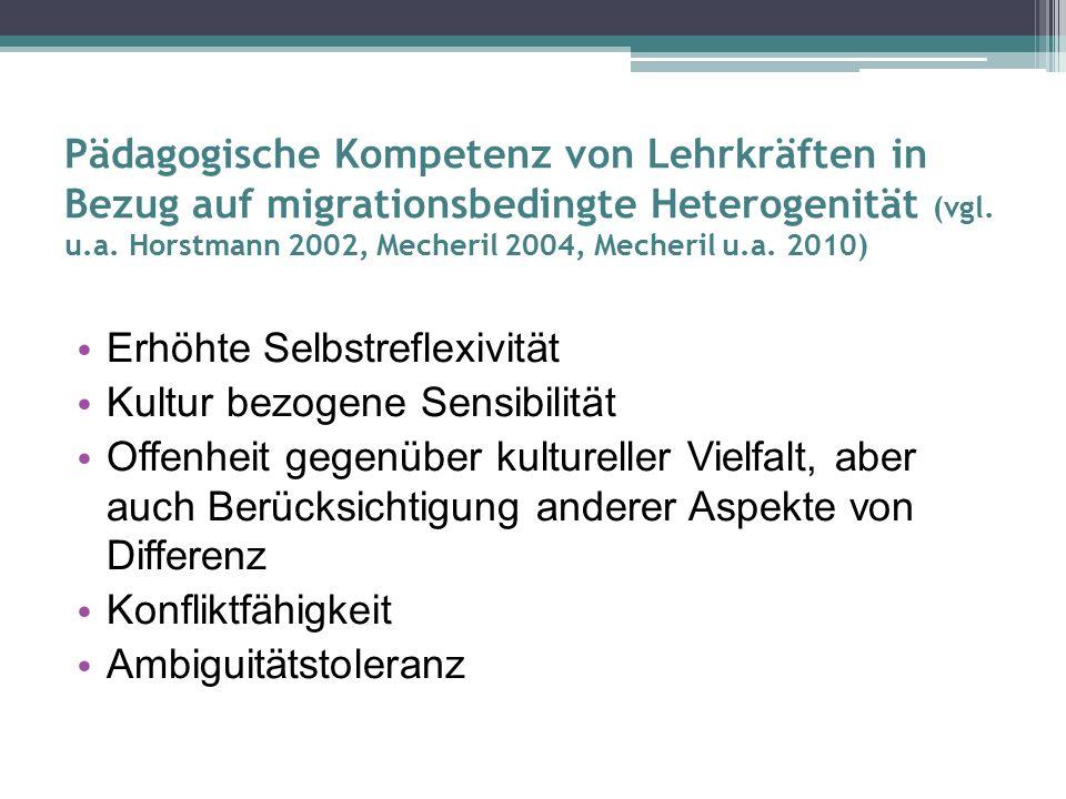 Pädagogische Kompetenz von Lehrkräften in Bezug auf migrationsbedingte Heterogenität (vgl.