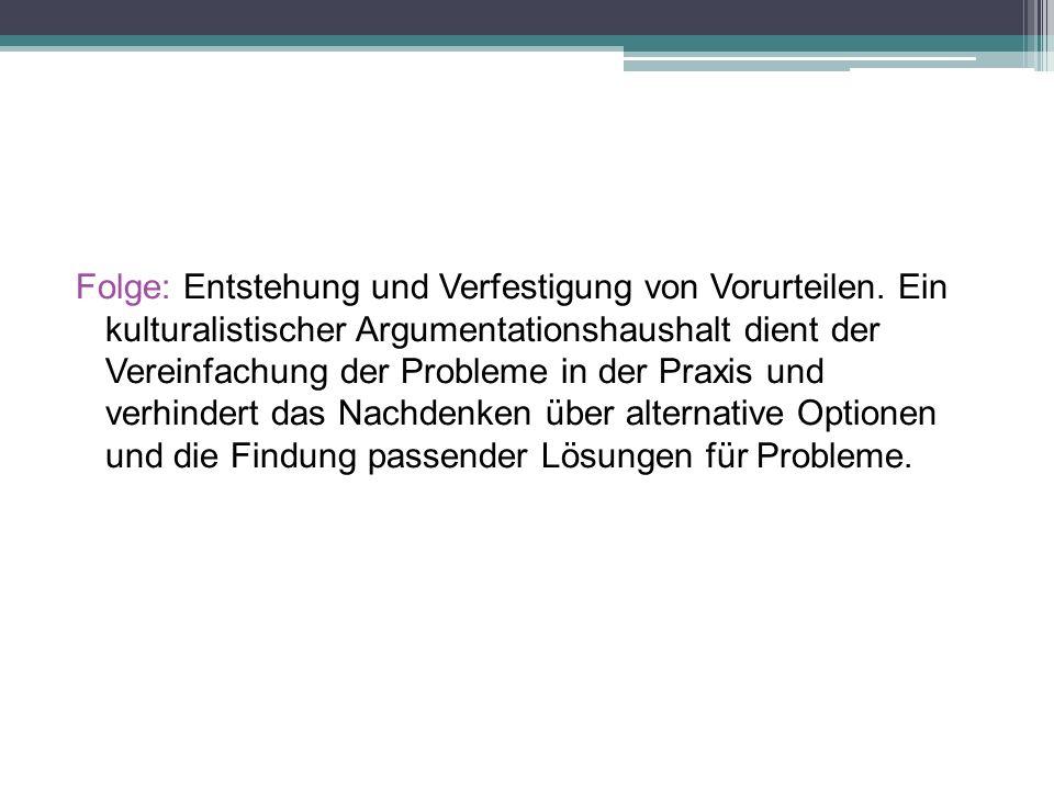 Folge: Entstehung und Verfestigung von Vorurteilen.