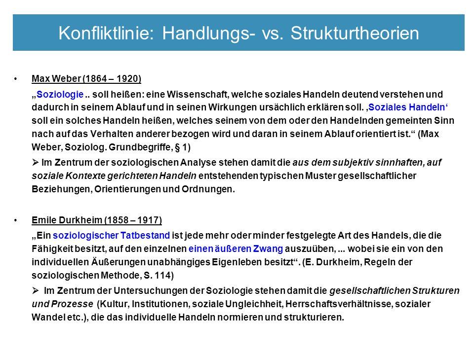 """Konfliktlinie: Handlungs- vs. Strukturtheorien Max Weber (1864 – 1920) """"Soziologie.."""