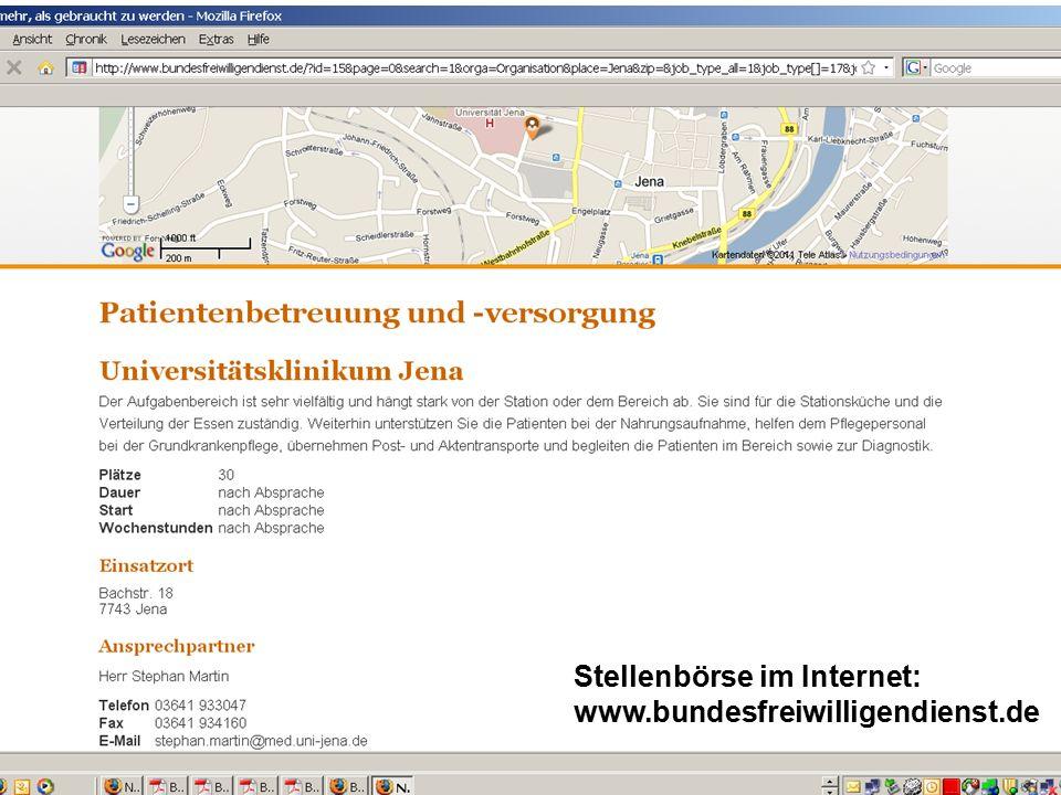 Stellenbörse im Internet: www.bundesfreiwilligendienst.de