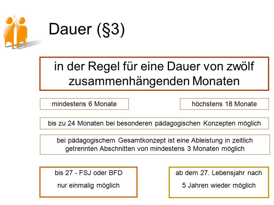 Dauer (§3) mindestens 6 Monatehöchstens 18 Monate bis zu 24 Monaten bei besonderen pädagogischen Konzepten möglich bei pädagogischem Gesamtkonzept ist eine Ableistung in zeitlich getrennten Abschnitten von mindestens 3 Monaten möglich bis 27 - FSJ oder BFD nur einmalig möglich ab dem 27.