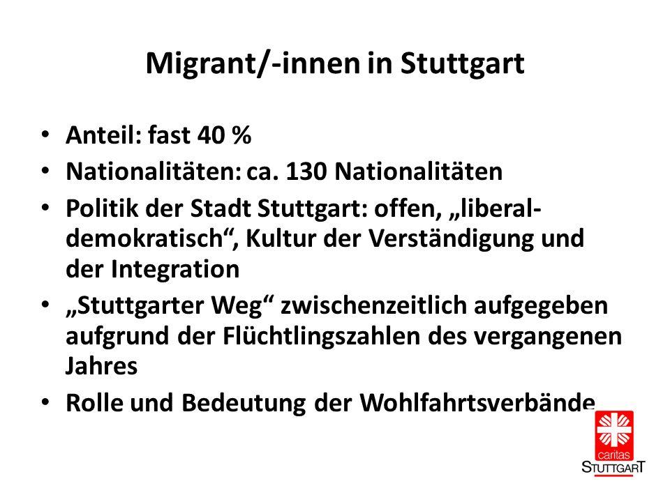 Migrant/-innen in Stuttgart Anteil: fast 40 % Nationalitäten: ca.