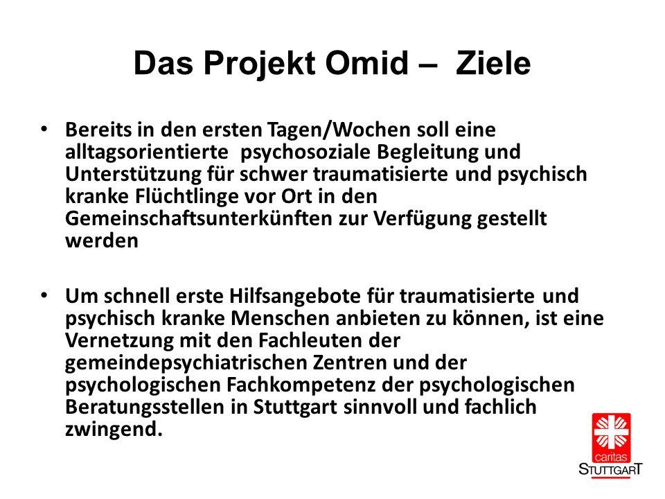 Das Projekt Omid – Ziele Bereits in den ersten Tagen/Wochen soll eine alltagsorientierte psychosoziale Begleitung und Unterstützung für schwer traumatisierte und psychisch kranke Flüchtlinge vor Ort in den Gemeinschaftsunterkünften zur Verfügung gestellt werden Um schnell erste Hilfsangebote für traumatisierte und psychisch kranke Menschen anbieten zu können, ist eine Vernetzung mit den Fachleuten der gemeindepsychiatrischen Zentren und der psychologischen Fachkompetenz der psychologischen Beratungsstellen in Stuttgart sinnvoll und fachlich zwingend.