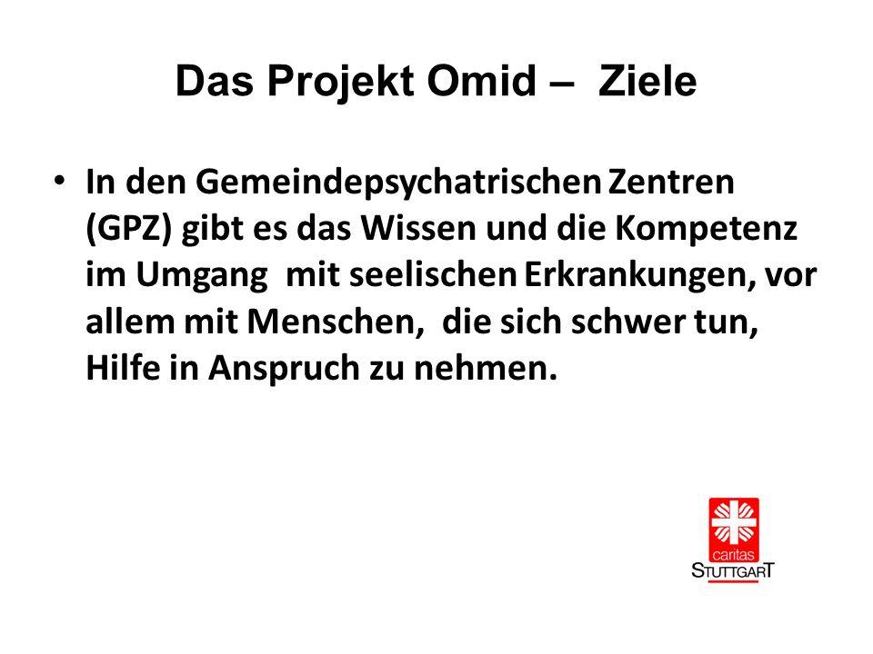 Das Projekt Omid – Ziele In den Gemeindepsychatrischen Zentren (GPZ) gibt es das Wissen und die Kompetenz im Umgang mit seelischen Erkrankungen, vor allem mit Menschen, die sich schwer tun, Hilfe in Anspruch zu nehmen.