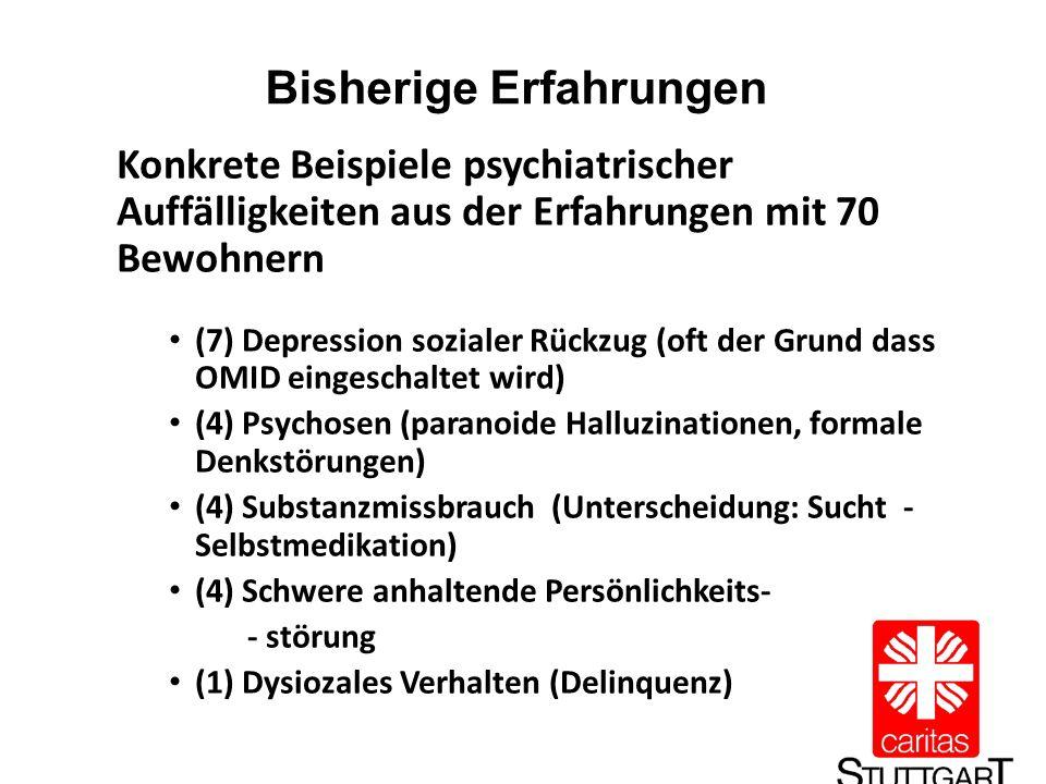 Bisherige Erfahrungen Konkrete Beispiele psychiatrischer Auffälligkeiten aus der Erfahrungen mit 70 Bewohnern (7) Depression sozialer Rückzug (oft der Grund dass OMID eingeschaltet wird) (4) Psychosen (paranoide Halluzinationen, formale Denkstörungen) (4) Substanzmissbrauch (Unterscheidung: Sucht - Selbstmedikation) (4) Schwere anhaltende Persönlichkeits- - störung (1) Dysiozales Verhalten (Delinquenz)
