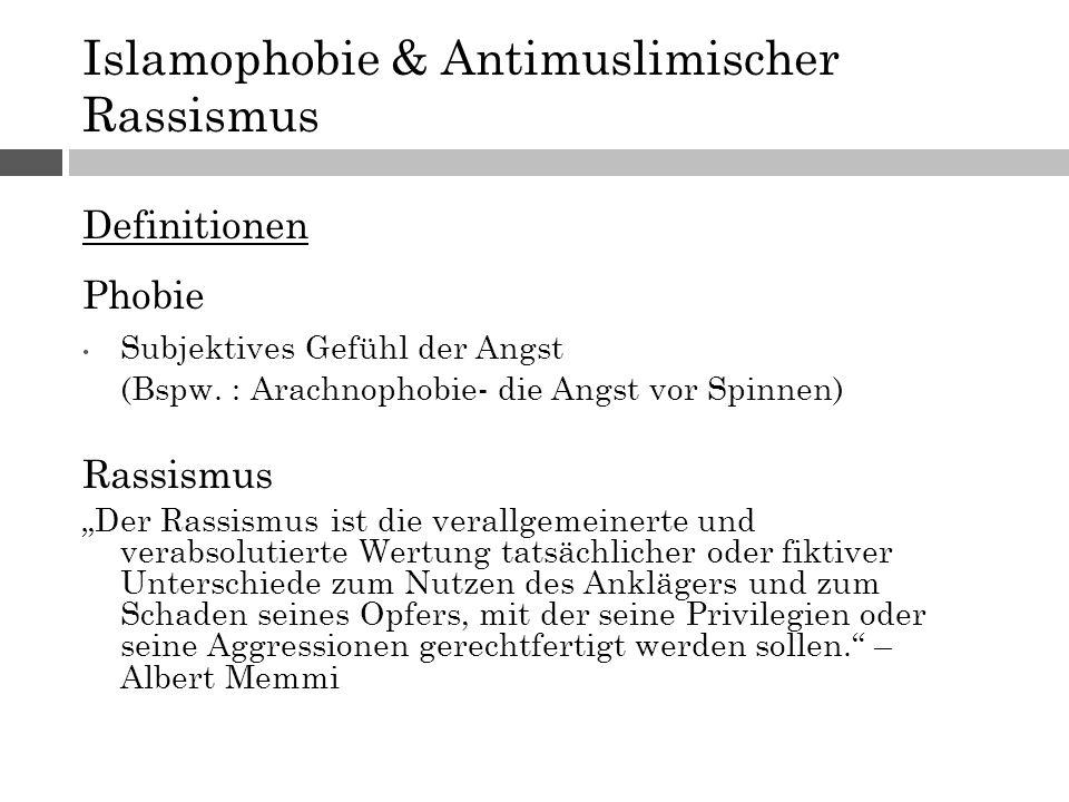 """Islamophobie & Antimuslimischer Rassismus Definitionen Phobie Subjektives Gefühl der Angst (Bspw. : Arachnophobie- die Angst vor Spinnen) Rassismus """"D"""
