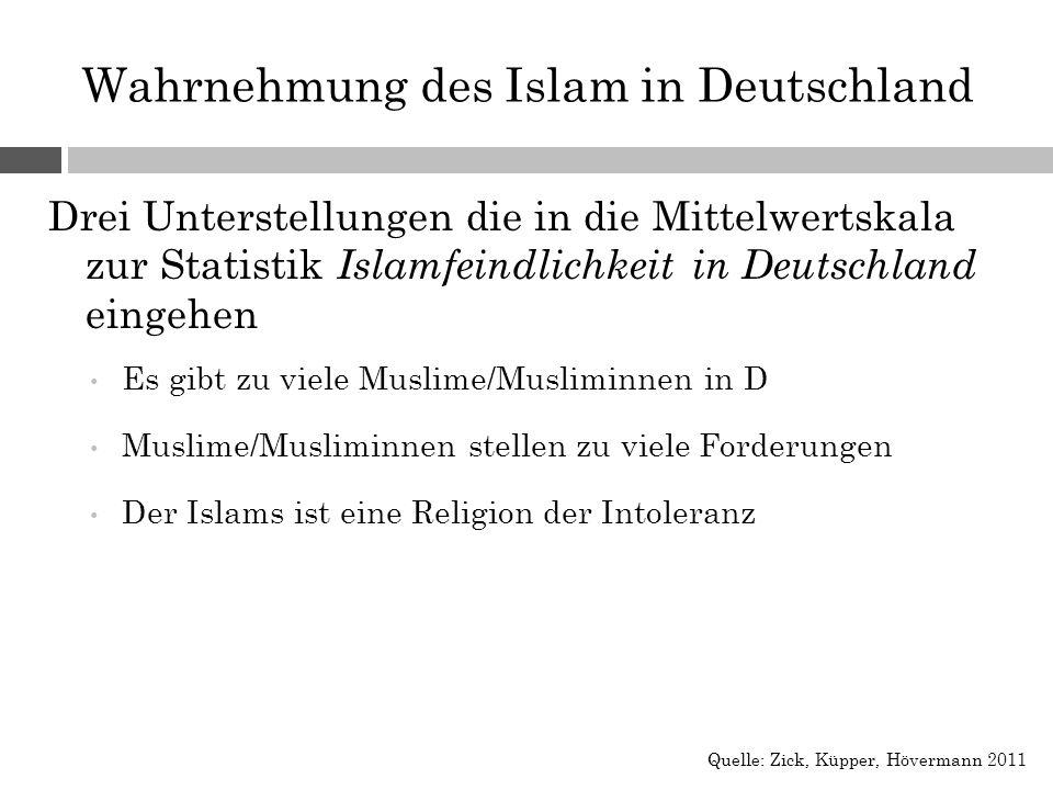 Wahrnehmung des Islam in Deutschland Drei Unterstellungen die in die Mittelwertskala zur Statistik Islamfeindlichkeit in Deutschland eingehen Es gibt