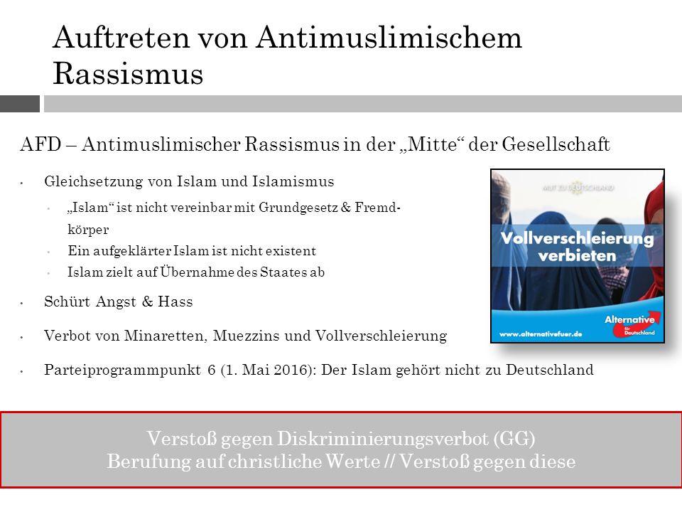 """Auftreten von Antimuslimischem Rassismus AFD – Antimuslimischer Rassismus in der """"Mitte"""" der Gesellschaft Gleichsetzung von Islam und Islamismus """"Isla"""