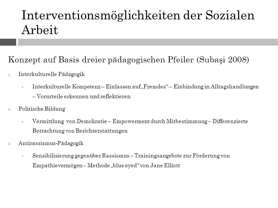 Interventionsmöglichkeiten der Sozialen Arbeit Konzept auf Basis dreier pädagogischen Pfeiler (Subaşi 2008) 1. Interkulturelle Pädagogik Interkulturel