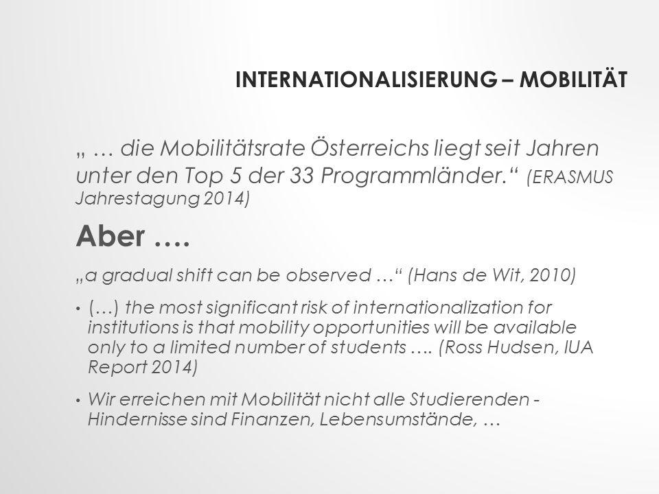 """INTERNATIONALISIERUNG – MOBILITÄT """" … die Mobilitätsrate Österreichs liegt seit Jahren unter den Top 5 der 33 Programmländer. (ERASMUS Jahrestagung 2014) Aber …."""