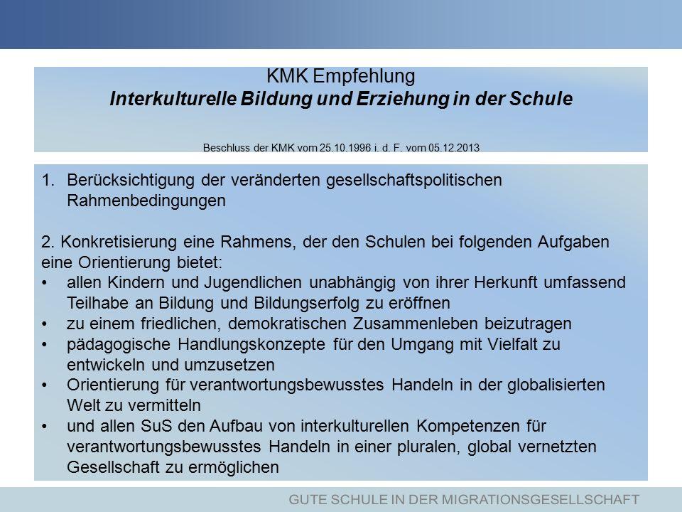 KMK Empfehlung Interkulturelle Bildung und Erziehung in der Schule Beschluss der KMK vom 25.10.1996 i.