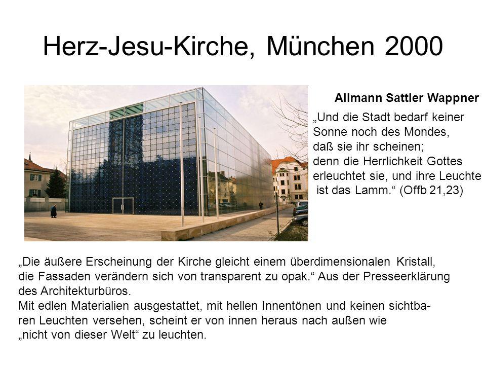 """Herz-Jesu-Kirche, München 2000 Allmann Sattler Wappner """"Die äußere Erscheinung der Kirche gleicht einem überdimensionalen Kristall, die Fassaden verän"""