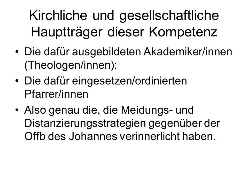 Kirchliche und gesellschaftliche Hauptträger dieser Kompetenz Die dafür ausgebildeten Akademiker/innen (Theologen/innen): Die dafür eingesetzen/ordini
