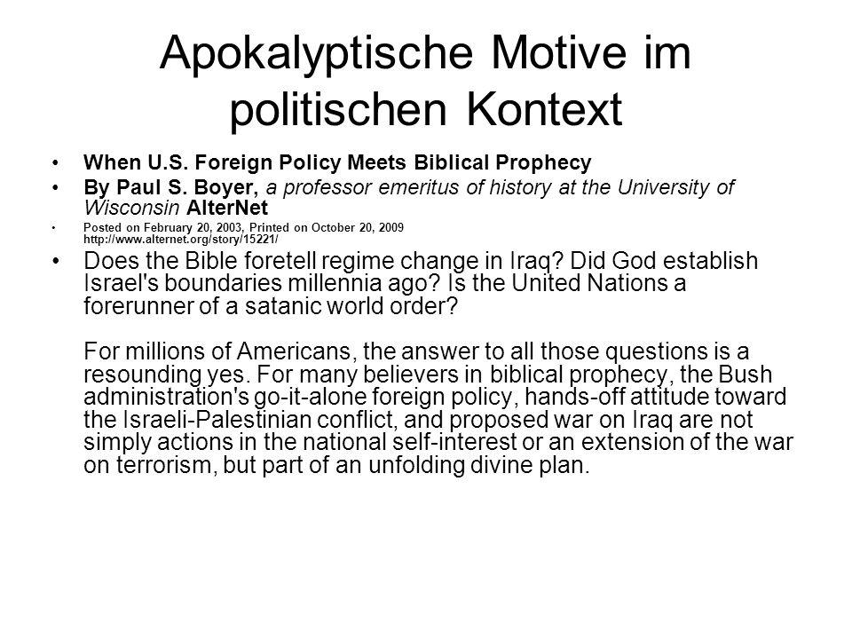 Apokalyptische Motive im politischen Kontext When U.S.