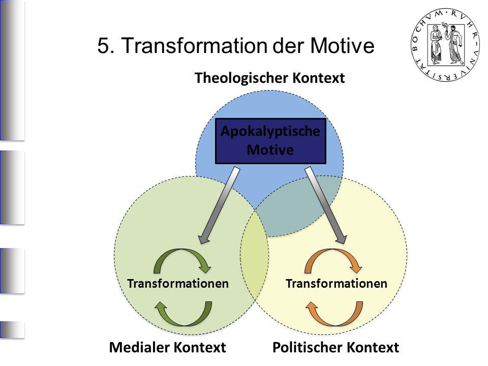 Medialer KontextPolitischer Kontext Apokalyptische Motive Transformationen Theologischer Kontext 5. Transformation der Motive